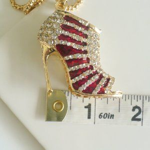 Jewelry - ❤️NEW High Heel Necklace Rhinestones & Red Enamel